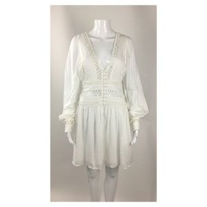 Free People White Cut Out Detail Tunic Dress SZ 12